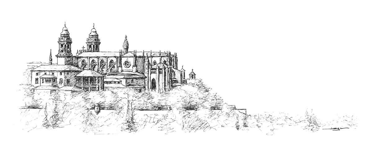 dibujo-catedral-pamplona-a-plumilla